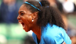 PARIS, FRANCE - MAY 28: Serena Williams of the United States celebrates during the Ladies Singles third round match against Kristina Mladenovic of France on day seven of the 2016 French Open at Roland Garros on May 28, 2016 in Paris, France. (Phot...