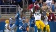 "Packers-Tight End Richard Rogers fängt den ""Hail-Mary""-Pass von Aaron Rodgers"