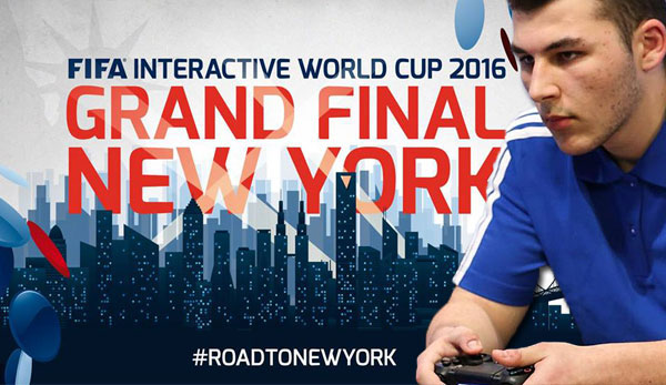 Kevin Assia nimmt beim FIFA Interactive World Cup 2016 in New York teil