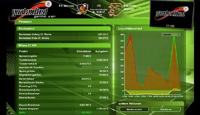 Screenshots aus dem online fußballmanager goalunited