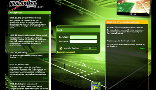 Screenshots aus dem Online-Fußballmanager Goalunited
