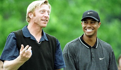 Boris mit Golf-Superstar Tiger Woods
