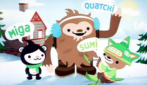 Die Maskottchen für die Olympischen Winterspiele 2010 in Vancouver: Big Foot Quatchi, Seebär Miga und das mystische Wesen Sumi