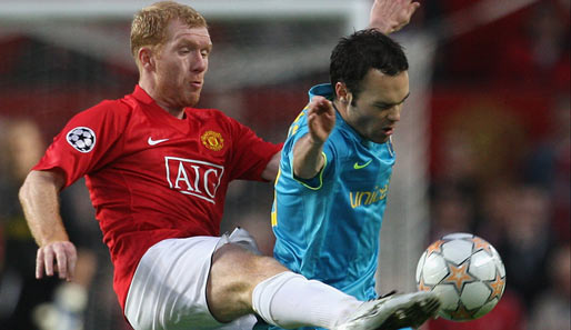 Fußball, Champions League, manchester, barcelona, united, barca, old trafford, ManUtd, halbfinale, scholes, iniesta