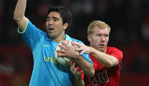 Fußball, Champions League, manchester, barcelona, united, barca, old trafford, ManUtd, halbfinale, scholes, deco