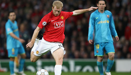 Fußball, Champions League, manchester, barcelona, united, barca, old trafford, ManUtd, halbfinale, scholes, messi, xavi