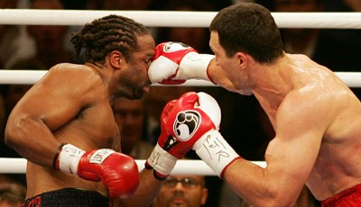 22. April 2006: Dr. Steelhammer is back. Klitschko holt sich gegen Chris Byrd erstmals den WM-Titel nach IBF-Version (TKO in der 7. Runde)