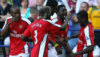 Arsenal London, Bolton Wanderers, Sagna, Gallas, Eboue, Adebayor
