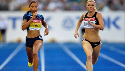 Die Sprinterinnen Allyson Felix (l.) und Monique Williams