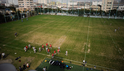Das neuseeländische Rugby-Team, die All Blacks, waren in Funabashi, Japan zu bewundern