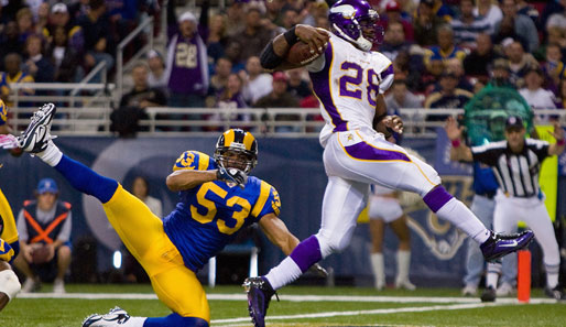 Running Backs (meiste Rushing Yards): 3. Adrian Peterson (Minnesota Vikings, Nr. 28): 1084 Yards, 12 Touchdowns, 6 Fumbles