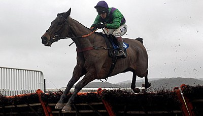 Jump! Richard Johnson gewinnt auf Voramar Two das Deane Veterinary Centre Novices' Hurdle Race in England