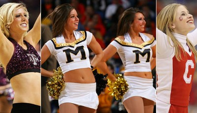 Welcome to March Madness: College-Basketball-Cheerleader von der Texas A&M, University of Missouri und Cornell University