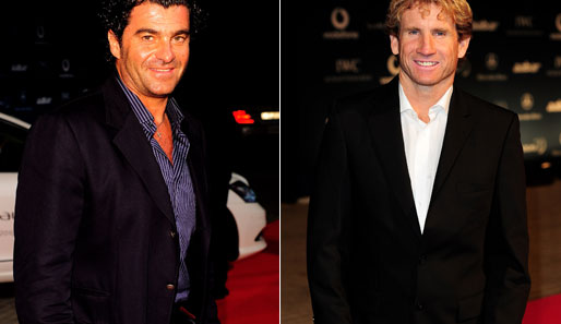 Ski-Legende Alberto Tomba und US-Windsurfer Robby Naish