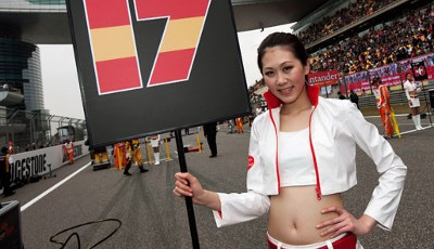 Die Gridgirls des China-GP in Shanghai