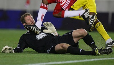 Autsch! Goalie William Hesmer konnte es verschmerzen. Seine Columbus Crew gewann in der MLS bei RB New York mit 3:1