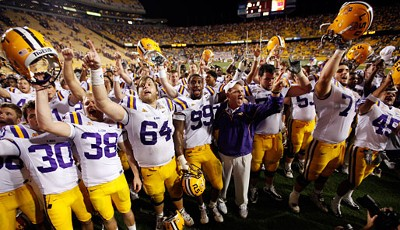 We are the Champions: Die Louisiana State Univeristy Tigers feiern ihren Sieg über die West Virginia Mountaineers