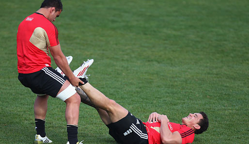 Hau ruck! Laim Messam (l.) und Bill Williams von den All Blacks aus Neuseeland testen eine neue Trainingsmethode