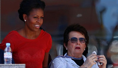 Tag 12: Hoher Besuch in Flushing Meadows - die First Lady Michelle Obama (l.) schaute in der Loge von Billie Jean King vorbei