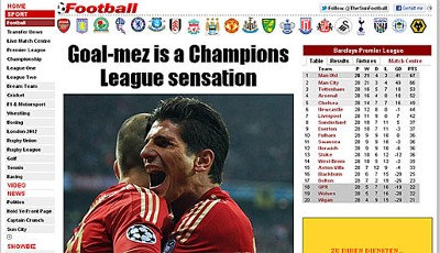 "The Sun - England (""Goal-mez ist eine Champions-League-Sensation"")"