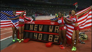NEW WORLD RECORD! Die US-Sprinterinnen feiern ihre Goldmedaille