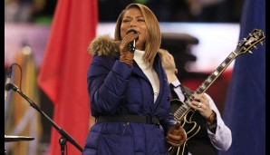 "Queen Latifah sang vor dem Spiel ""America the Beautiful"""