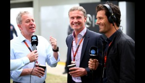 Experten-Talk vor dem Start: Martin Brundle, David Coulthard and Mark Webber (v.l.n.r.) beim Plausch im Albert Park