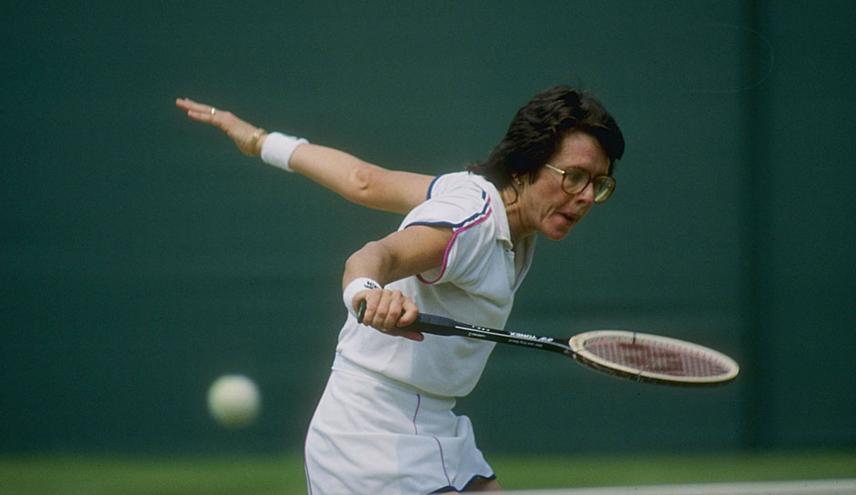 Platz 7 u.a.: Billie Jean King (USA) mit 12 Grand-Slam-Titeln (1x Australian Open, 1x French Open, 6x Wimbledon, 4x US Open)