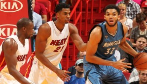 C: Karl-Anthony Towns, Saison 2015/16: 18,3 Punkte, 10,5 Rebounds, 2 Assists
