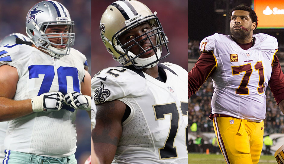 O-LINE: 5.: Zack Martin, G, Dallas Cowboys, Terron Armstead, T, New Orleans Saints und Trent Williams, T, Washington Redskins - alle 92 Overall