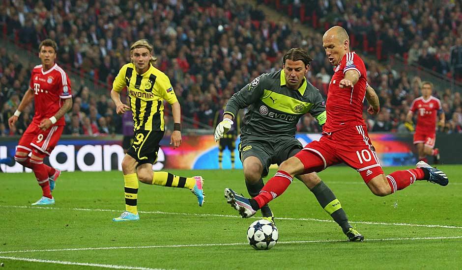 25.5.2013: Im ersten rein deutschen Champions-League-Finale trifft Arjen Robben in der 89. Minute mitten ins BVB-Herz