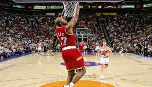 "Phoenix Suns (2) – Houston Rockets (6), Conference Semifinals 1995: Nach einer schwachen Regular Season verbiss sich Meister Houston in die Playoffs. Mario Ellies ""Kiss of Death"" besiegelte in Spiel 7 das Aus der Suns nach 3-1-Führung"