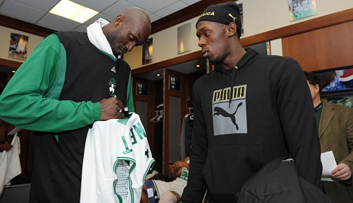 Bolt mit Celtics-Superstar Kevin Garnett
