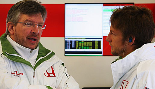 Honda-Teamchef Ross Brawn (l.) und Pilot Jenson Button