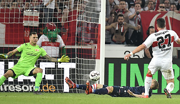 Mario Gomez trifft für den VfB Stuttgart zum 2:1 gegen Union Berlin.