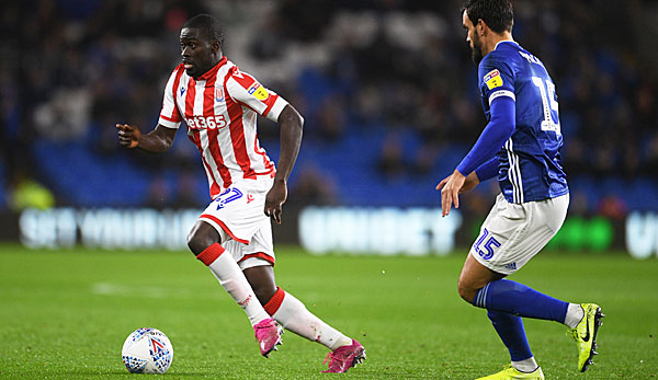 Badou Ndiaye (left) has had 13 games in the Stoke City Championship this season.