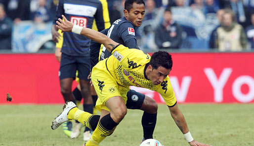 Lucas Barrios (v.) stand in Berlin mal wieder in Dortmunds Startelf