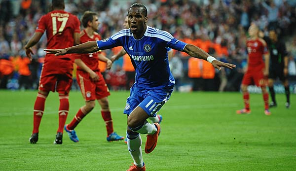 At the recent CL clash between the two clubs: Didier Drogbar shoots Chelsea FC for the Champions League title.