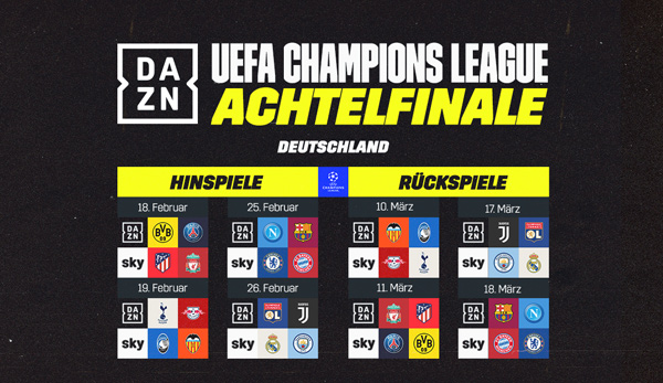 Champions League Achtelfinale Diese Spiele Zeigt Sky Live Im Tv
