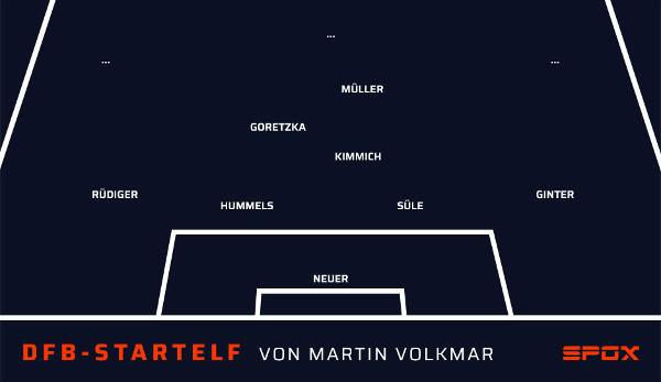 In the midfield, columnist Martin Volkmar relies on the Bayern trio of Kimmich, Goretzka and Müller.