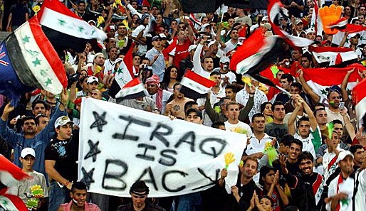 fußball, international, irak, fans