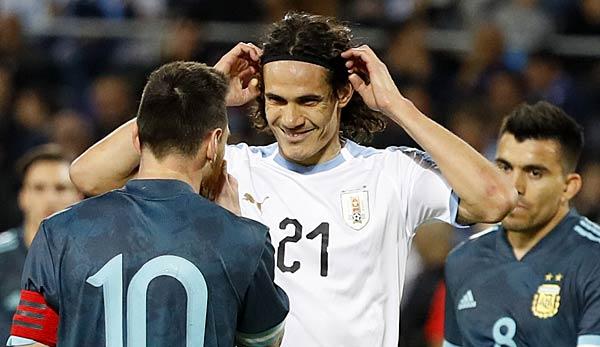 Lionel Messi und Edinson Cavani geraten bei Freundschaftsspiel aneinander