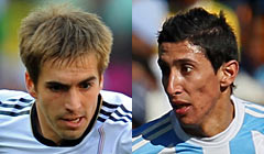 Philipp Lahm (26) vs. Angel Di Maria (22)