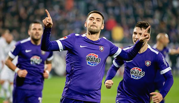 Auch am Sonntag gegen Holstein Kiel wollen Dimitrij Nazarov und Erzgebirge Aue wieder jubeln.