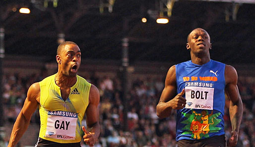 Usain Bolt (r.) blieb beim Diamond-League-Meeting in Stockholm hinter Tyson Gay