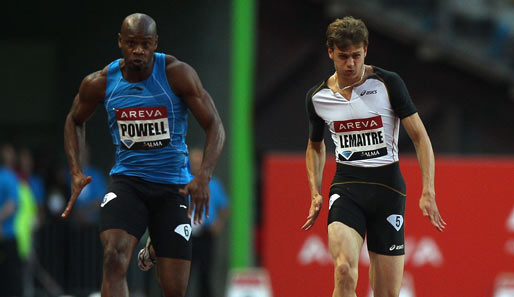 Asafa Powell (l.) hinterließ beim Diamond League Meeting in Lausane über 100 Meter eine Duftmarke