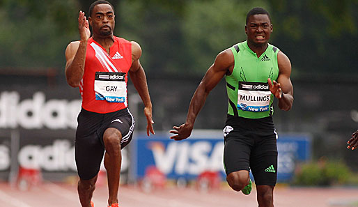 Tyson Gay (l.) zog in New York gegen Steve Mullings den Kürzeren