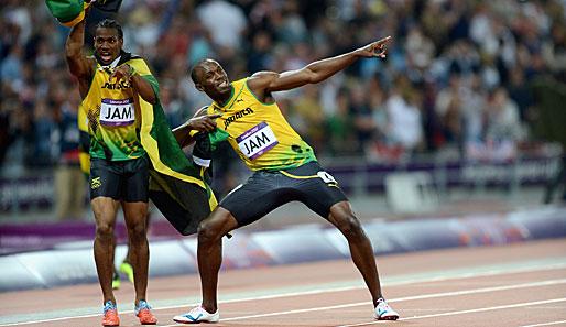 Usain Bolt (r.)...