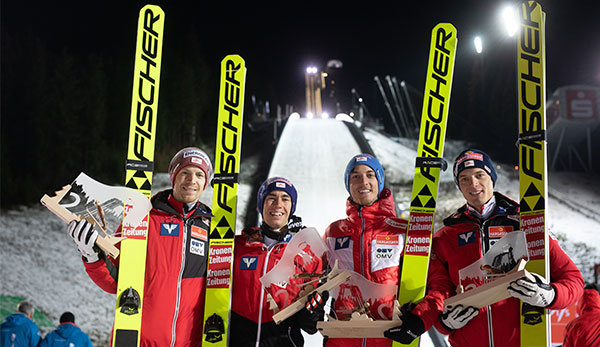 ÖSV-Team holt bei Skisprung-Teambewerb Platz zwei