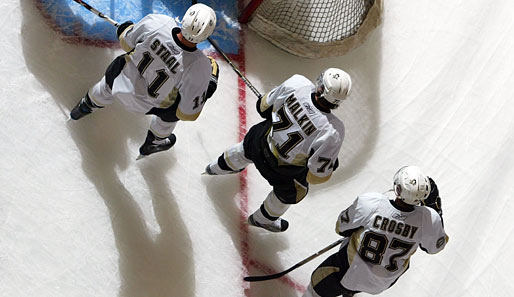 Die drei Top-Center der Penguins: Jordan Staal, Jewgeni Malkin und Sidney Crosby